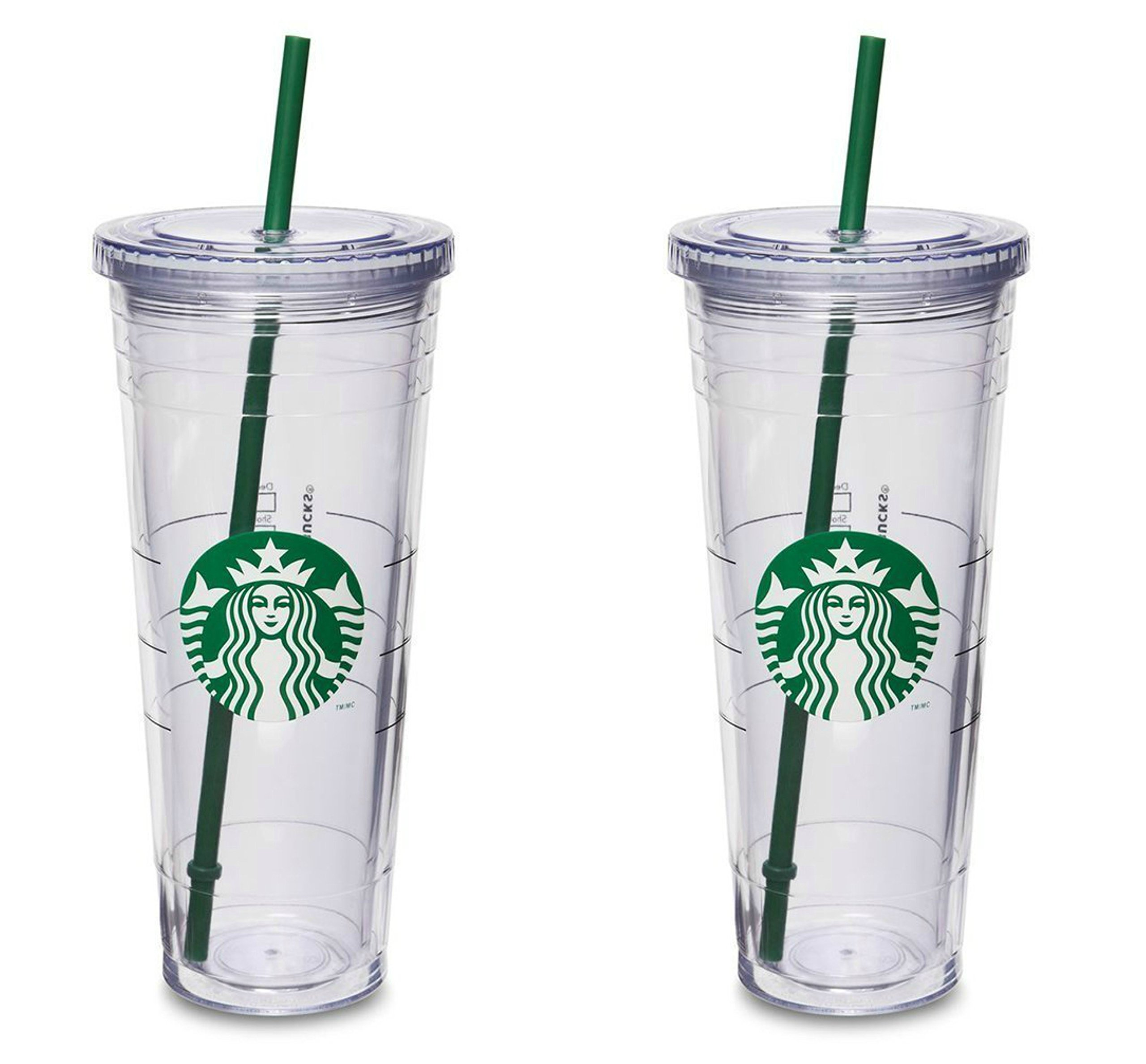 Starbucks Venti Insulated Travel Tumbler 24 OZ / Double Wall Acrylic / 2 Pack Set by Starbucks