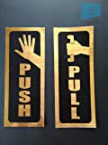 SIGN EVER Push Pull Metallic Gold Color Sign Sticker for Glass Doors Office Hospital Mall Business (12x5cm)