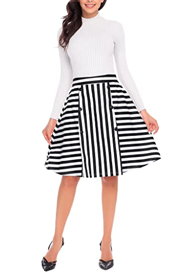 5109fd3ca Women A-line Midi Knee Length Cotton Skirt, Black Striped Elegant Vintage  Swing Flared