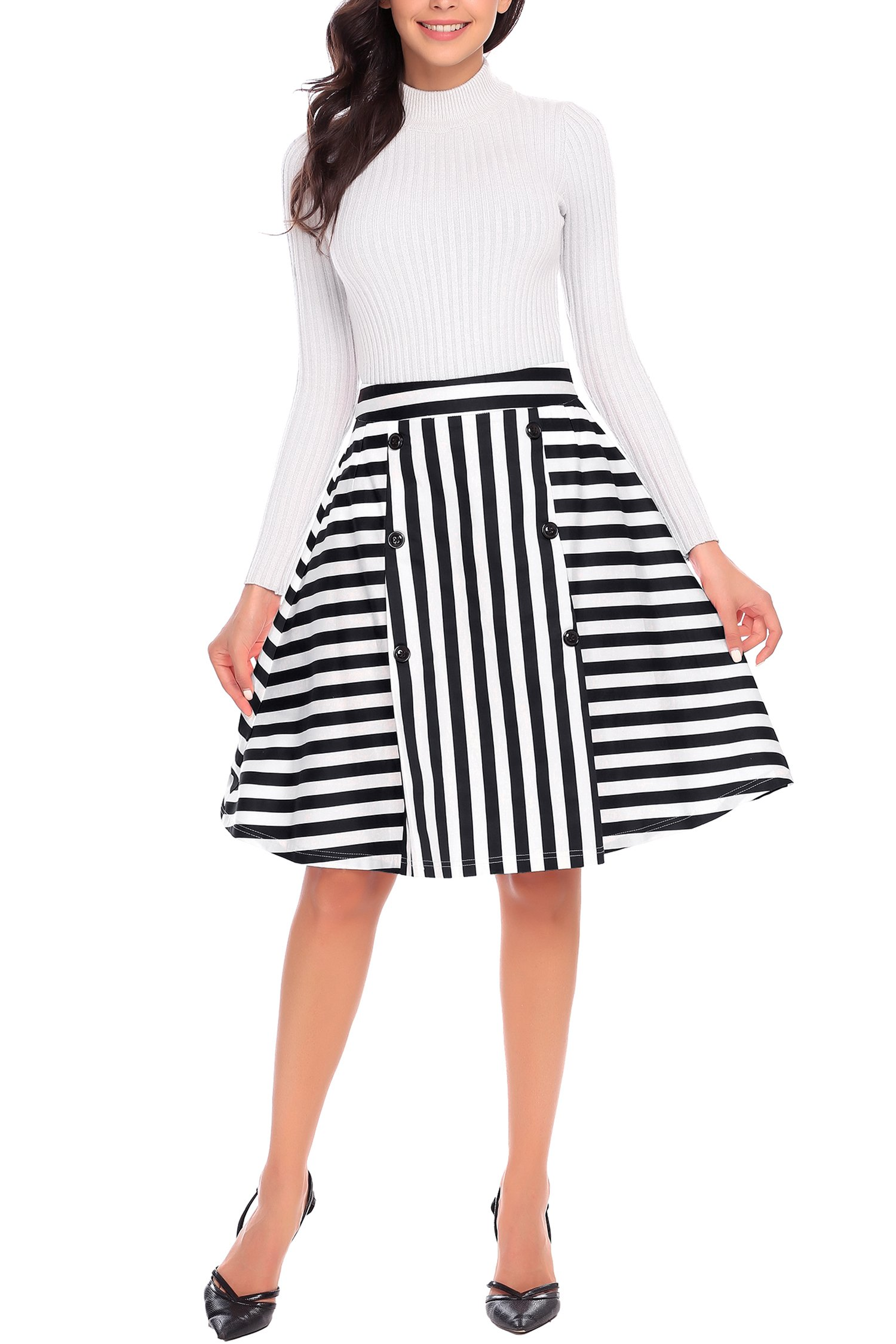 Shine Flare A-Line Midi Skirt Black Striped High Waist Vintage Flowy Cocktail Dance Skirts For Women Party Autumn Winter, Black Stripes, Medium
