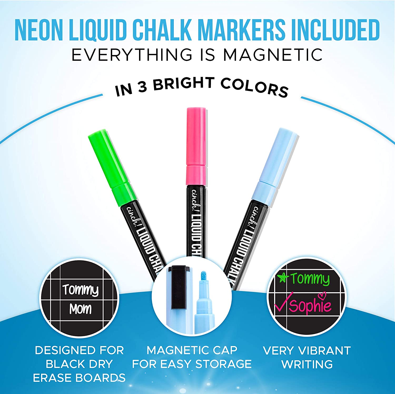 Includes 3 Bright Neon Chalk Markers Fridge 17x12 Magnetic Black Dry Erase Chore Chart for Multiple Kids and Adults Daily Responsibility Rewards Black Board for Toddlers or Teenagers