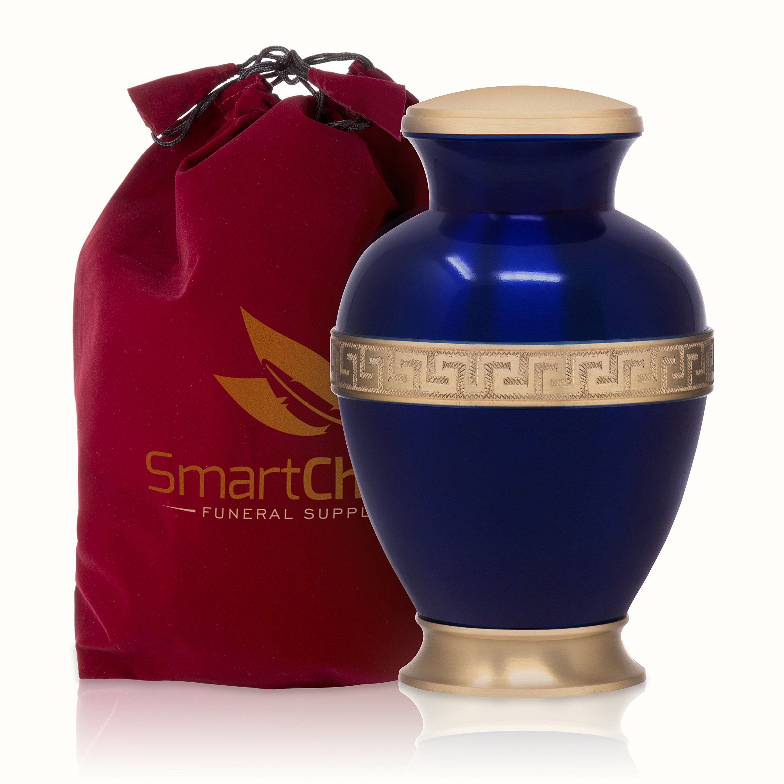 SmartChoice Cremation Urn for Human Ashes - Funeral Adult Urn for Ashes Greek Brass Handcrafted (Adult)