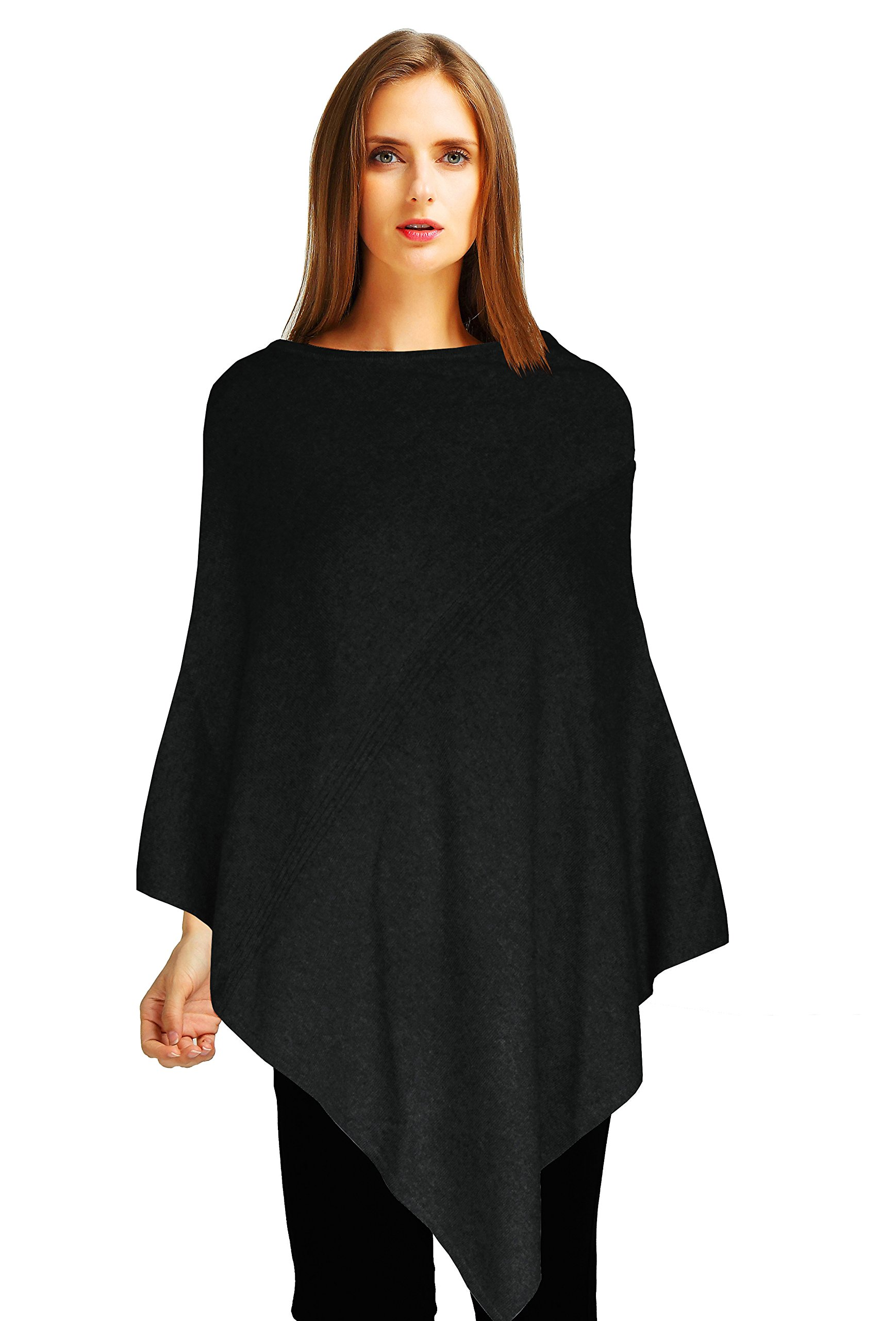 Ellettee, 96% Pure Cashmere Knit Pullover Poncho Dress Topper Travel Wrap Shawl Cape Sweater Cloak (Dimgray)