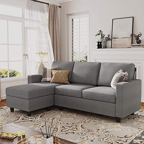 HONBAY Reversible Sectional Sofa Couch Convertible Couch Sofa Sectional L Shape Couch
