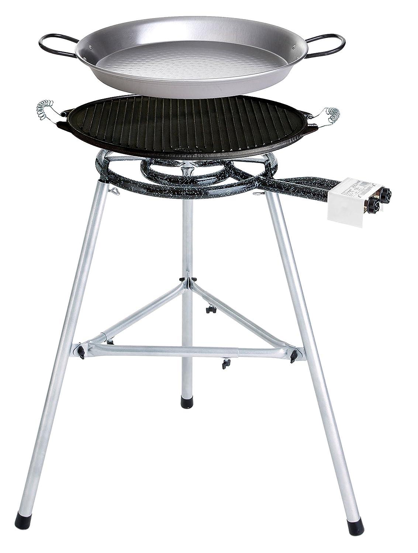 Paella Grill-Set mit Gusseisengrillplatte und Paella Pfanne