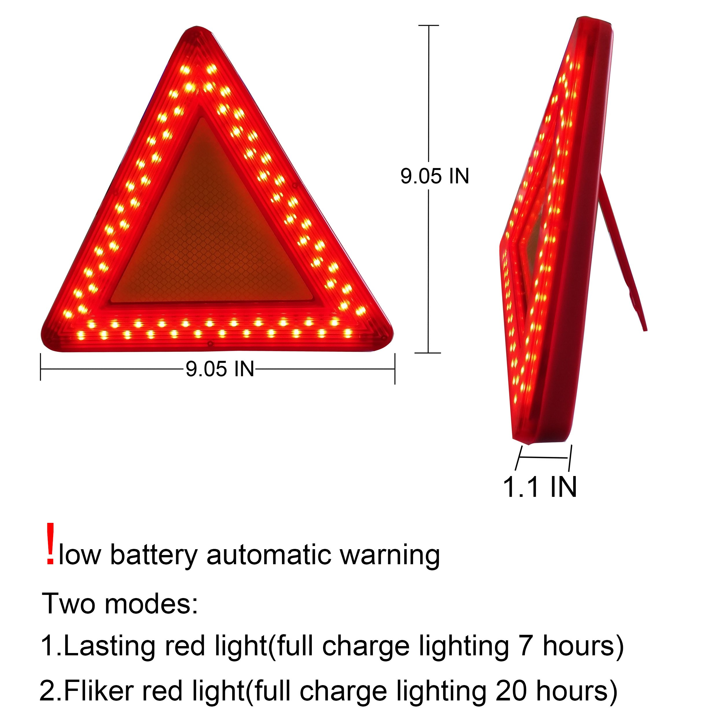WELLHOME Roadside Red Emergency Safety Triangle Reflective Kit for Vehiclesr,2 Modes Lasting Lighting and Flicker Lighting,9.05 Inch - 1 Pack