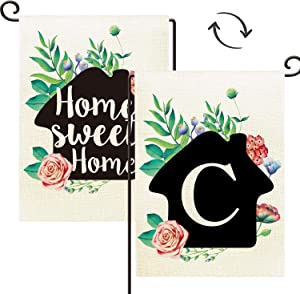 Agantree Art Monogram Letter C Small Garden Flag Waterproof Double Sided Yard Outdoor Decorative 12 x 18 Inch - Home Sweet Home