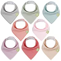 Organic Baby Bandana Drool Bibs for Girls - Super Absorbent Organic Cotton Bandana Bibs - Baby Drool Bib - Teething Bibs - Handkerchief Bibs for Infant, Toddler - 8-Pack Bib Set (Muted Pastel)