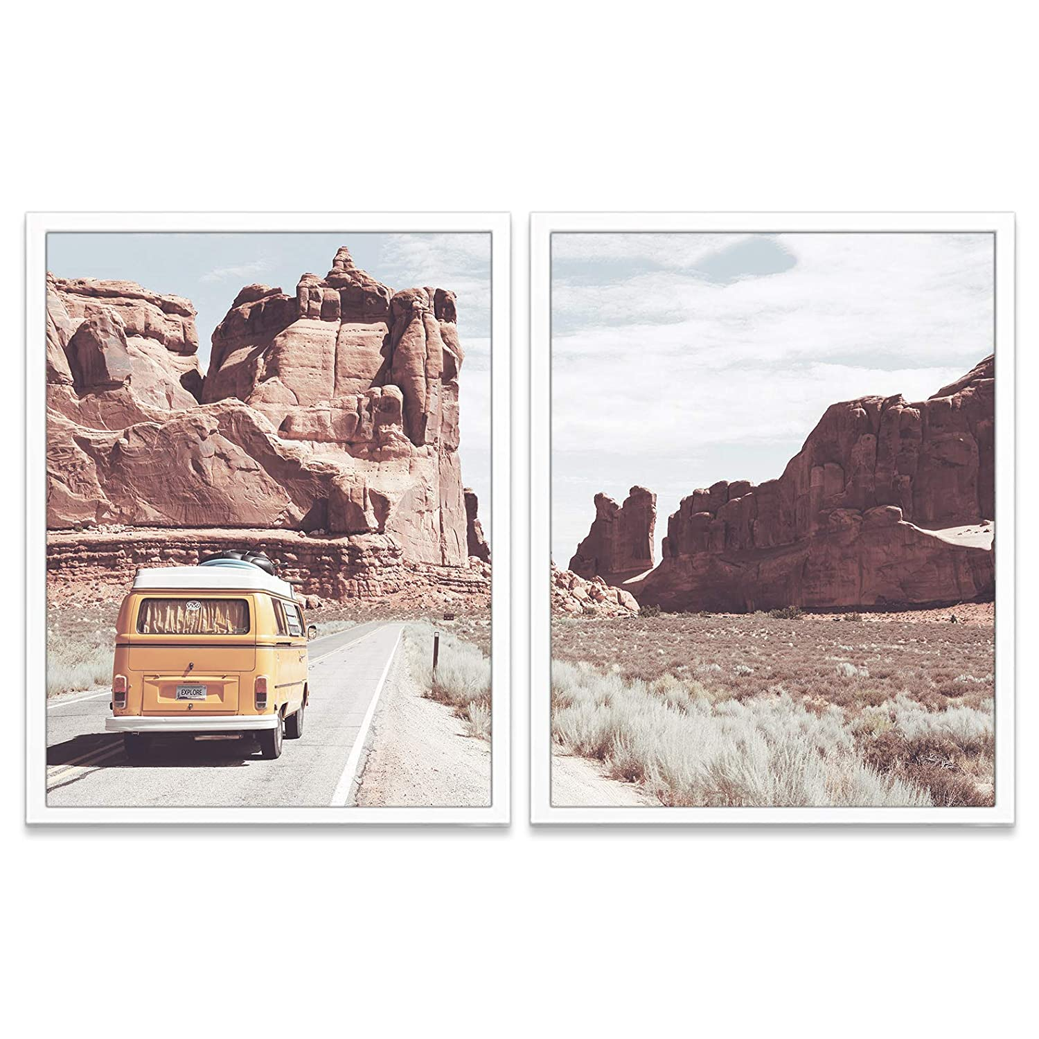 Classic Vintage Antique Van in Arizona Photography Prints, Set of 2, Unframed, Arizona Adventure Wall Art Decor Poster Sign, 8x10