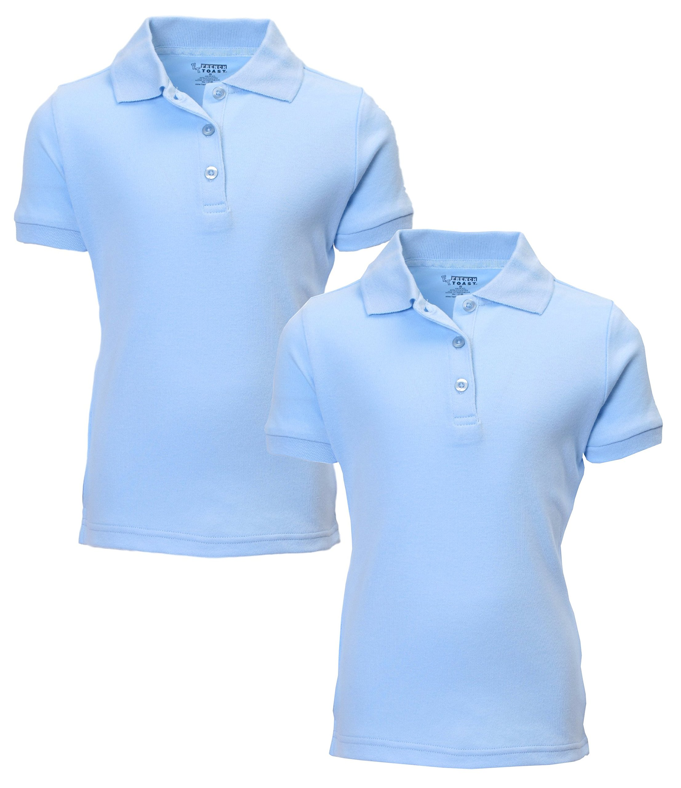French Toast Girl's 2 Pack Uniform Short Sleeve Polo Shirts 4/5 LT Blue