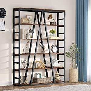 Tribesigns 6 Tier Bookshelf 71 inch Tall Bookcase, Industrial Etagere Bookcase and Bookshelves Modern Book Shelves for Living Room, Home Office, Metal Frame (Rustic Brown)