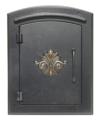 QualArc MAN 1401BL Manchester Column Mount Mailbox With Decorative Scroll  Door In Black