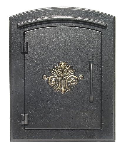 QualArc MAN1401BL Manchester Column Mount Mailbox With Decorative Scroll  Door In Black Column Mount Mailbox L28