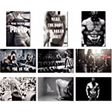 "9x Poster Fabric Bodybuilding Men Girl Fitness Workout Quotes Motivational Inspiration Muscle Gym Font 20x13"" (50x33cm) (1-9)"