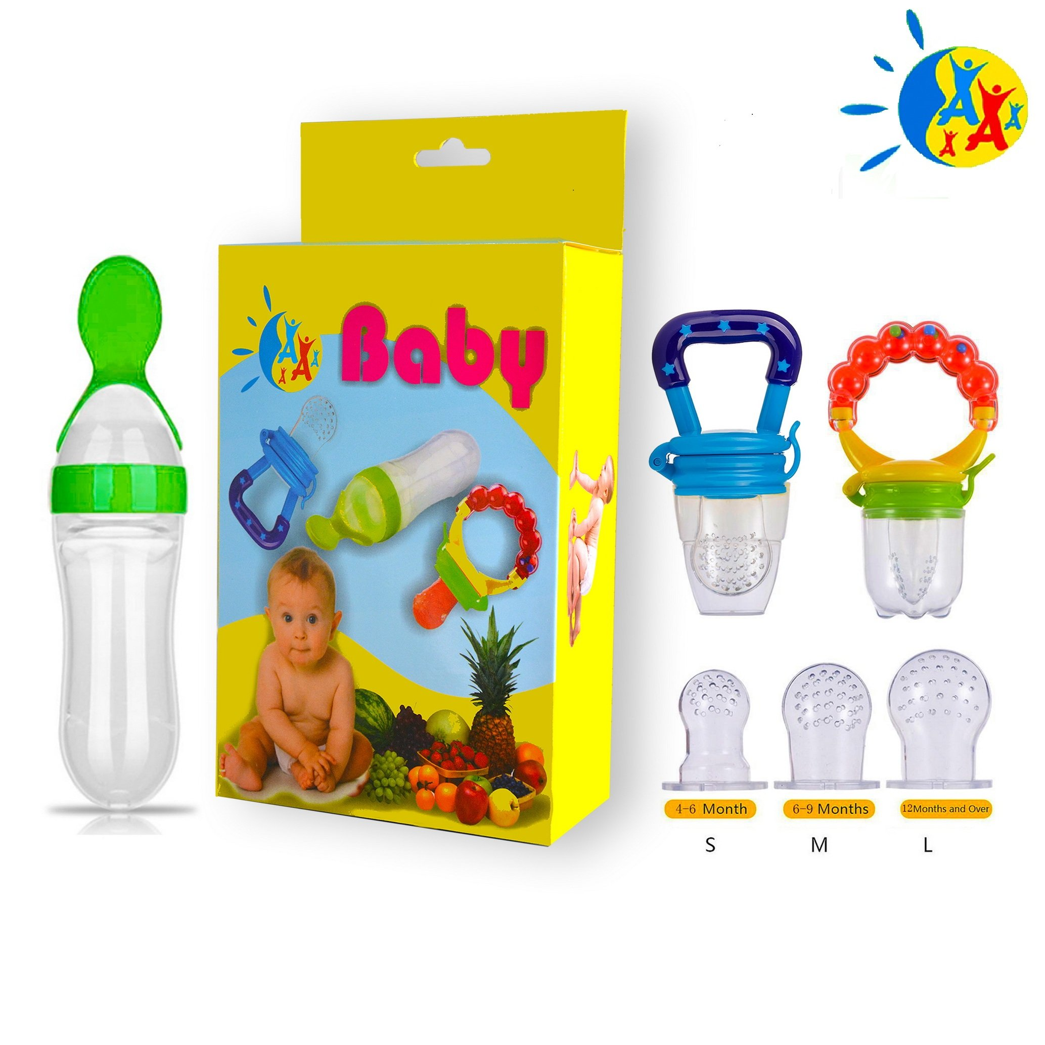Baby Food Feeder Fresh Fruit Nibbler Squeeze Bottle Spoon Hygienic Cover Newborn Teeth Pacifier with Soothe Meshes Extra All Sizes Silicone Pouches Solid Nipple for Kids Toddlers Infants Teething