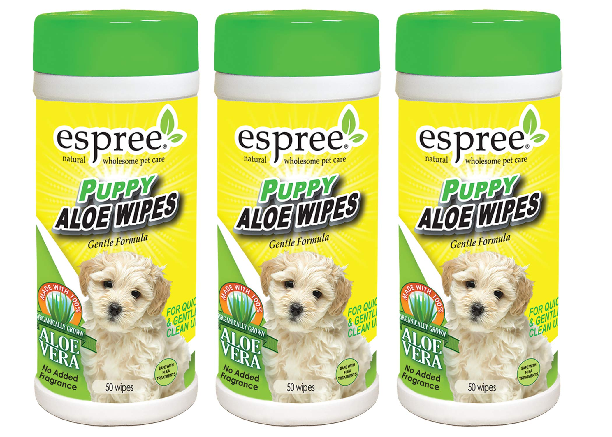 Espree Puppy Aloe Wipes 50 Count, Pack of 3