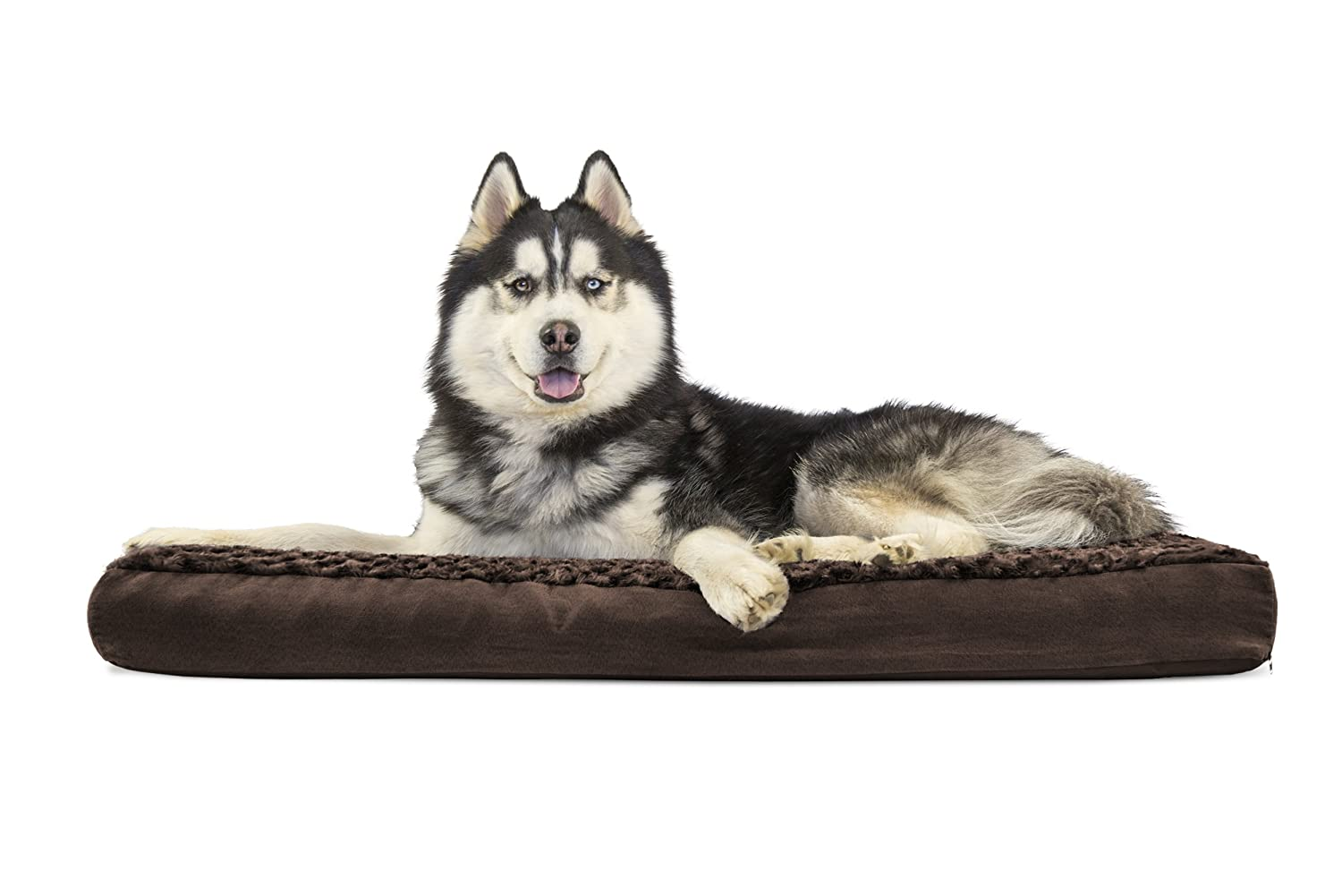 FurHaven Pet Dog Bed   Deluxe Memory Foam Ultra Plush Mattress Pet Bed for Dogs & Cats, Chocolate, Jumbo