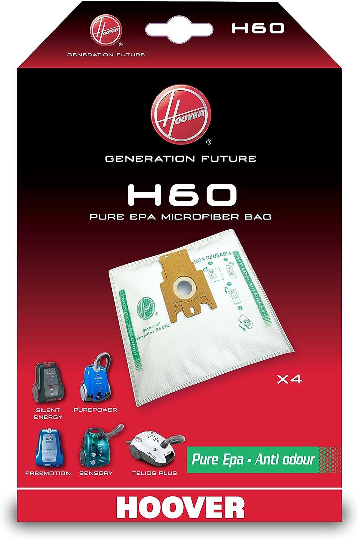 1.9 litros Nailon Compatible con los Modelos Athos Hoover H60 H60-Hoover Bolsa para aspiradora Pure-Epa Incluye 4 uds