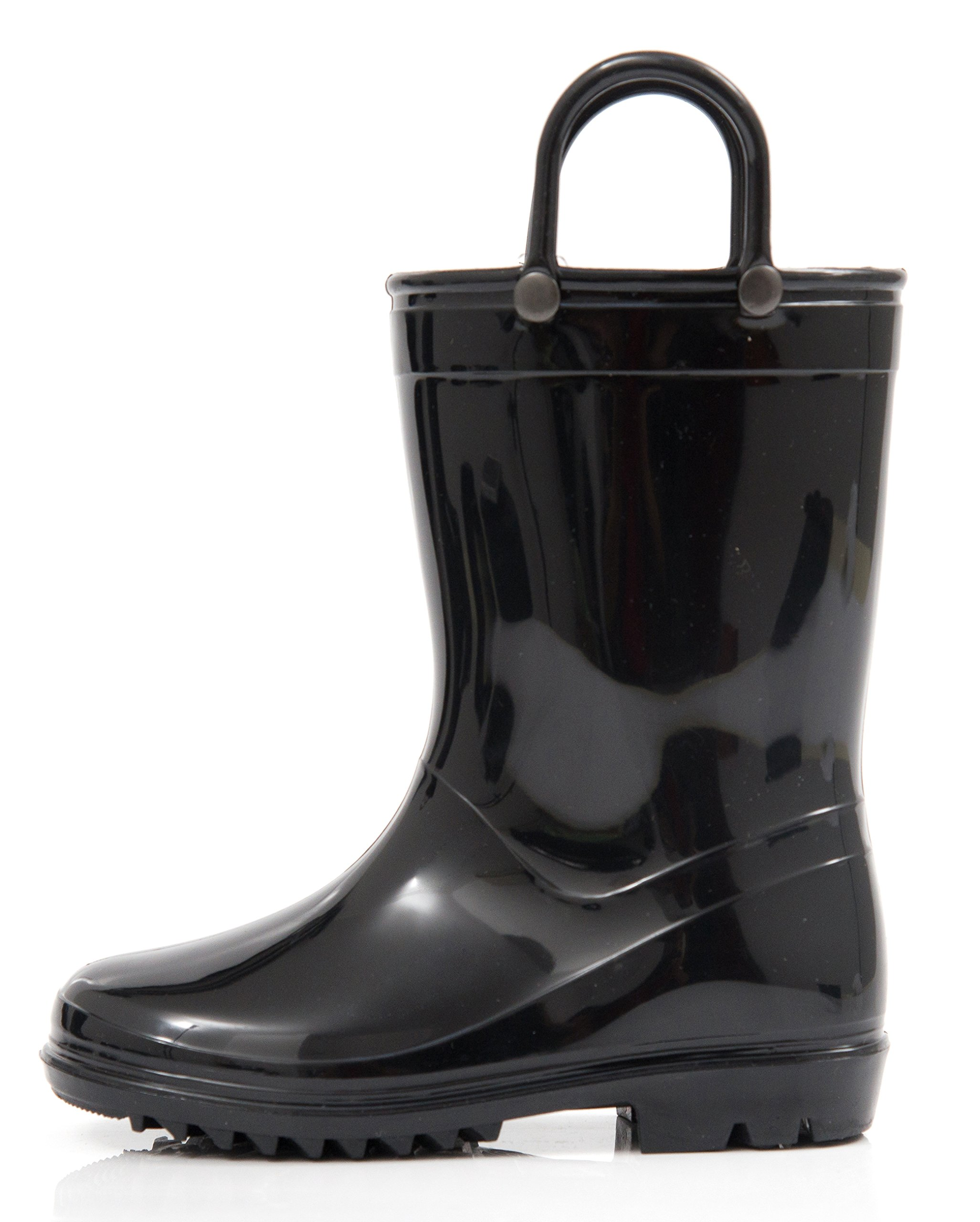 Outee Toddler Girls Boys Rain Boots Kids Waterproof Shoes Black Lightweight Solid Cute Lovely Funny with Easy-On Handles Classic Comfortable Removable Insoles (Size 8,Black)