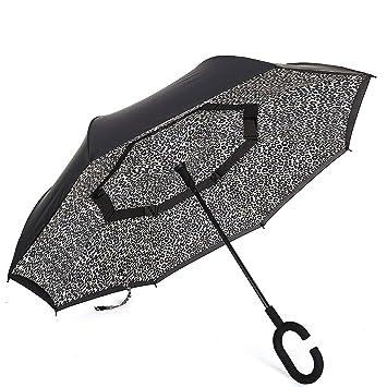YGMDSL Paraguas Toda la Fibra Manos Libres Coche Paraguas Inverso Día Soleado Día Lluvioso Uso Dual Estampado de Leopardo: Amazon.es: Deportes y aire libre