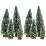 ORYOUGO Factory Direct Craft Set of 8 Artificial Mini Sisal Bottle Brush Christmas Trees Party Decoration Ornaments Santa Snow Frost Village Putz House(4'',6'',7.9'',9.8'')