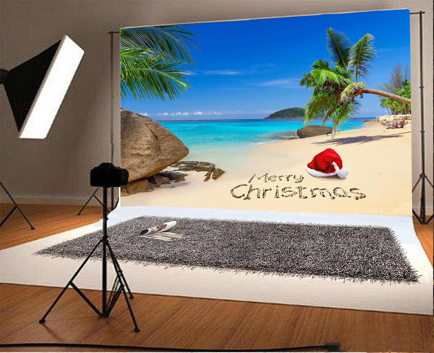 fb6caec8180dd Laeacco 7x5FT Vinyl Backdrop Photography Background Merry Christmas Santa  Hat Tropical Beach Rock Palm Trees Island Blue Sea and Sky Scenery  Background ...