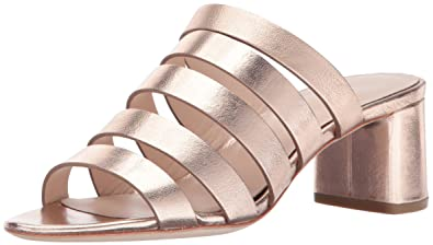Loeffler Randall Women's Finley Strappy Mule (Metallic Leather) Heeled  Sandal, Rose Gold,