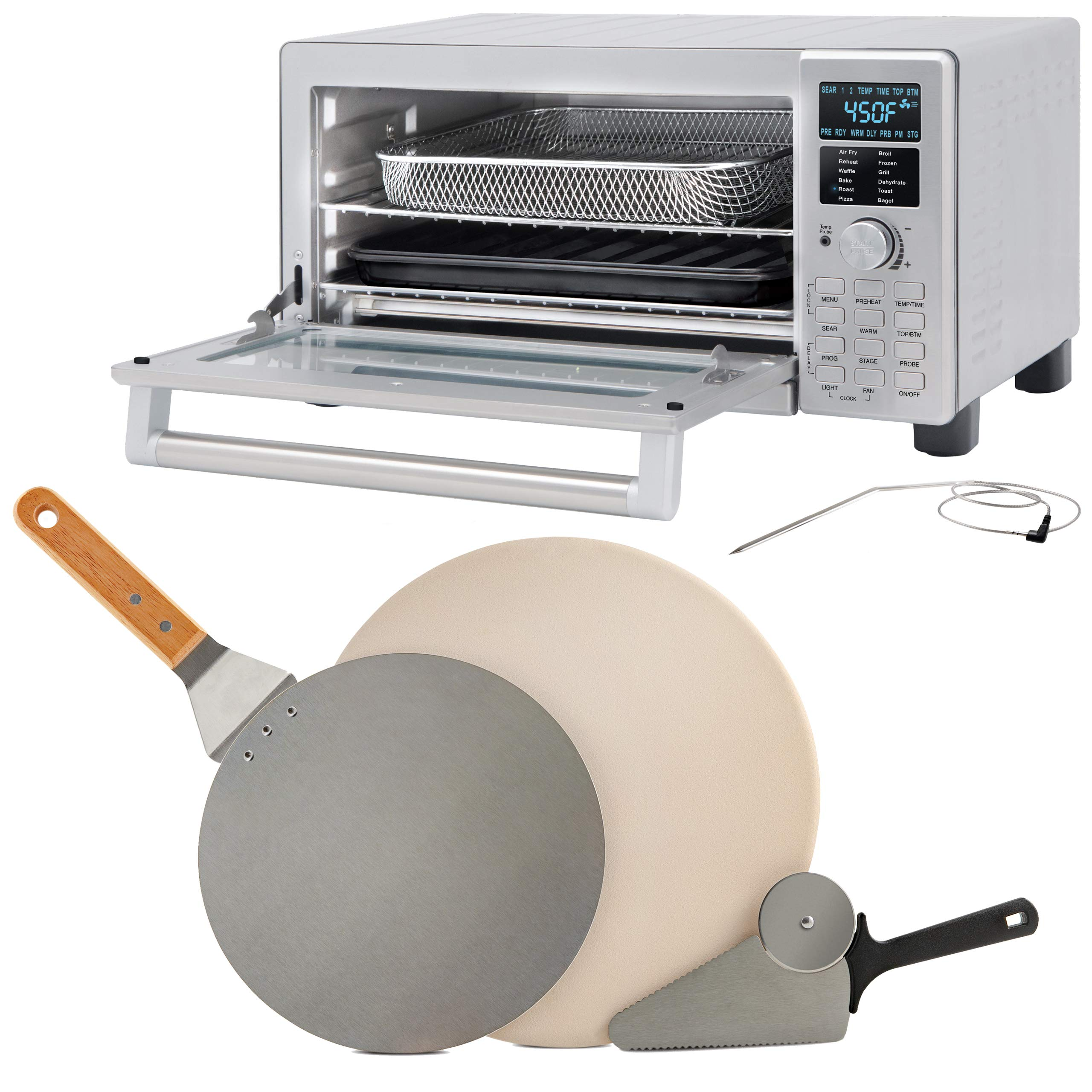 NUWAVE Bravo XL 1800-watt Smart Air Fryer Convection Oven with 3-piece Brick Oven-Style Pizza Kit