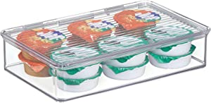 iDesign Kitchen, Pantry, Refrigerator, Freezer Storage Container with Hinged Lid, 2-Quart, Clear