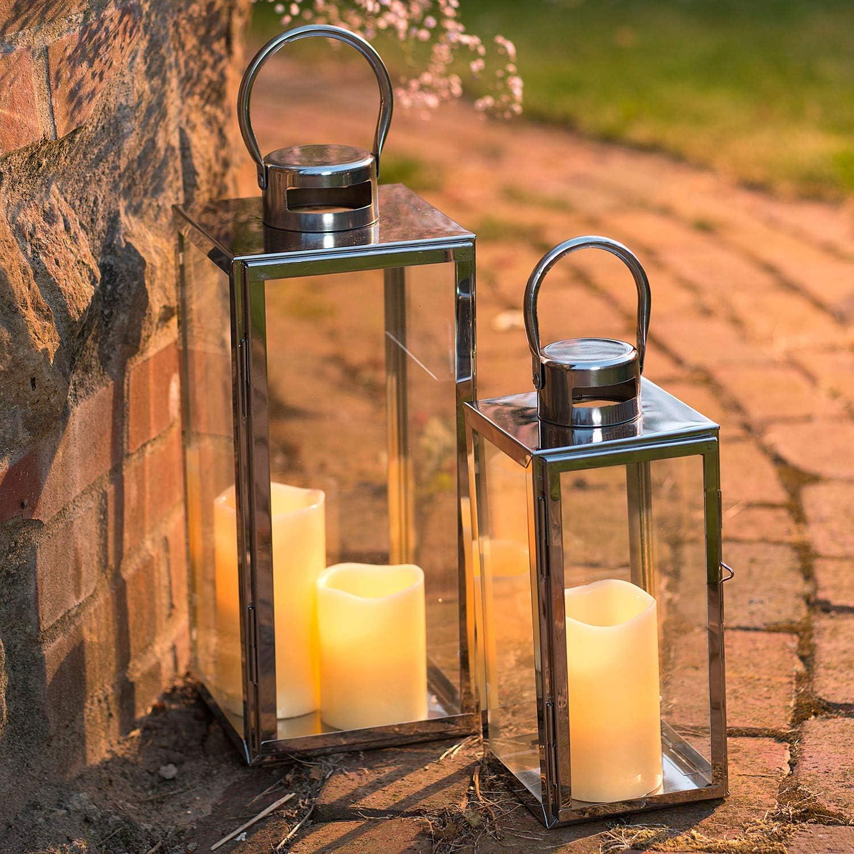 aus Edelstahl im 2er Set Windlicht Kerzenhalter pajoma Laternen Verona