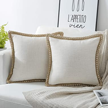 Phantoscope Pack of 2 Farmhouse Burlap Linen Trimmed Tailored Edges Throw Pillow Case Cushion Covers Off-White 18  x 18  45 x 45 cm