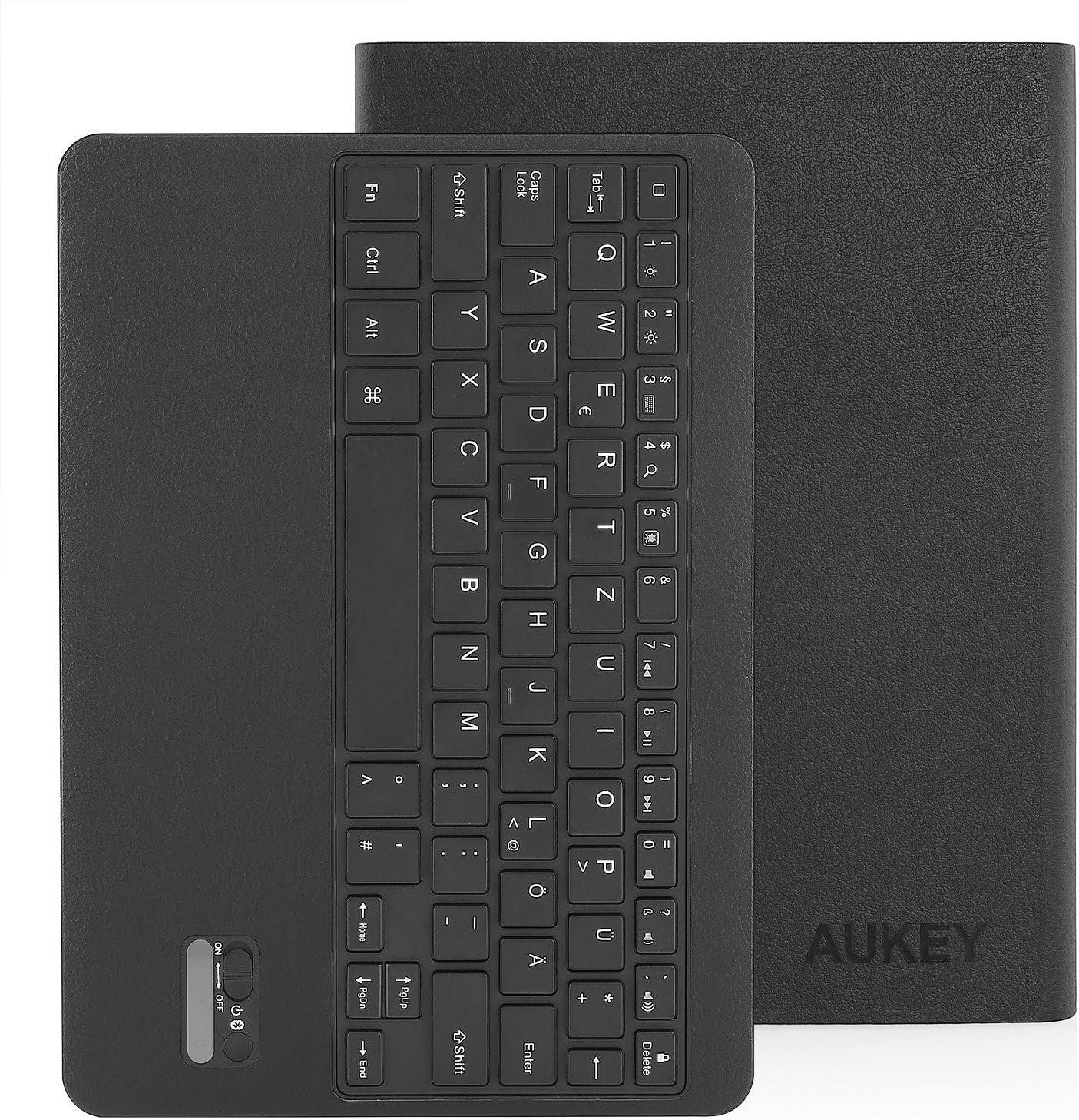 Aukey iPad Air – Funda de Teclado Bluetooth inalámbrico Bluetooth teclado Funda de piel con tapa para iPad Air, ultra slim folio – Funda de piel, ...