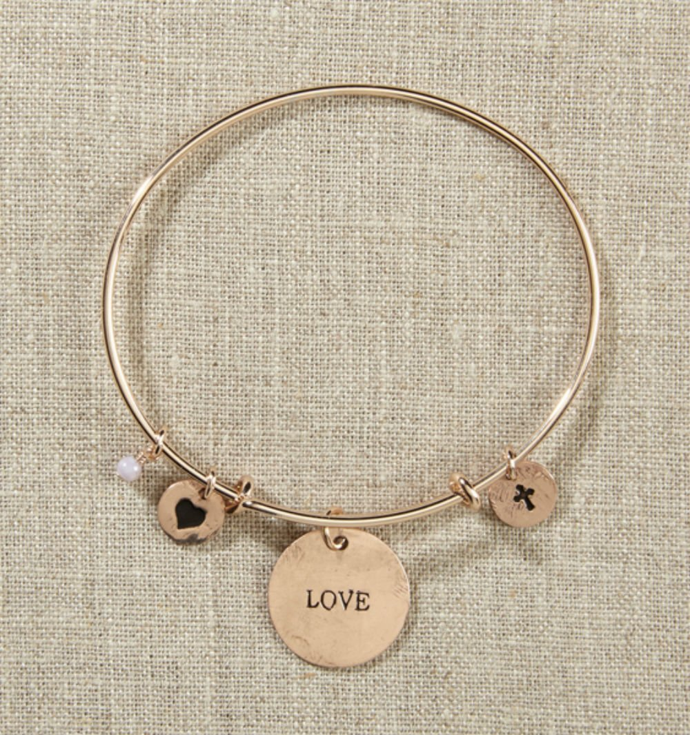 Set of 4 Grateful Heart Gold Bangle Bracelet with Love, Heart, Cross by AT001