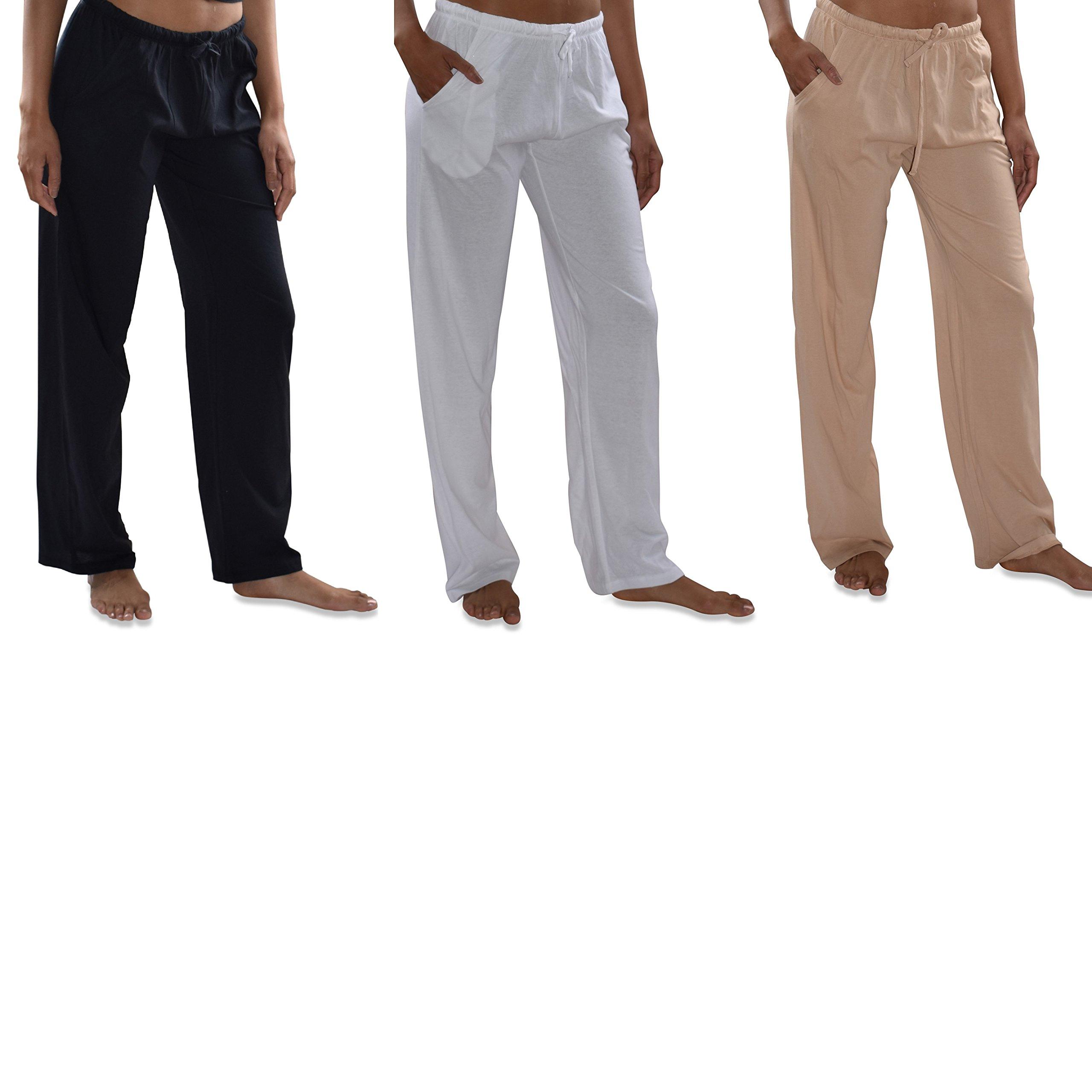 Sexy Basics Women's 3 Pack Soft Flex-Cotton Knit Pajama Pants/Lounge Pants/Sleep Pants (3 Pack-Black/White/Khaki, XX-Large)