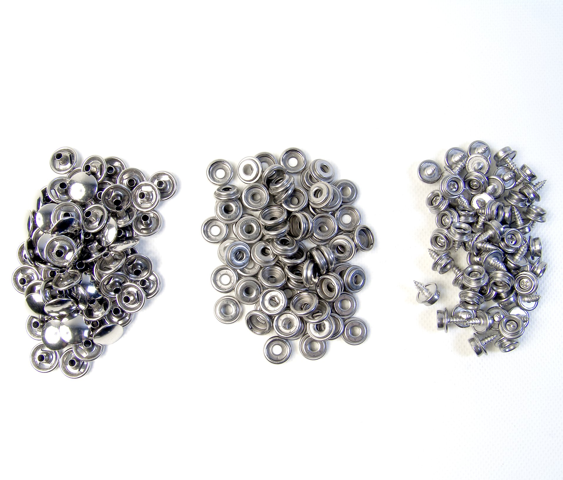 150 Piece 100% Stainless Steel Boat Marine Canvas Upholstery Snap & Stud Fastener Kit: 50 Snaps / 50 3/8'' Screw In Snap Studs by Northwest Tarp & Canvas