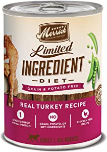 Merrick Limited Ingredient Diet Grain Free Wet Dog Food Real Turkey Recipe - (12) 12.7 oz Cans