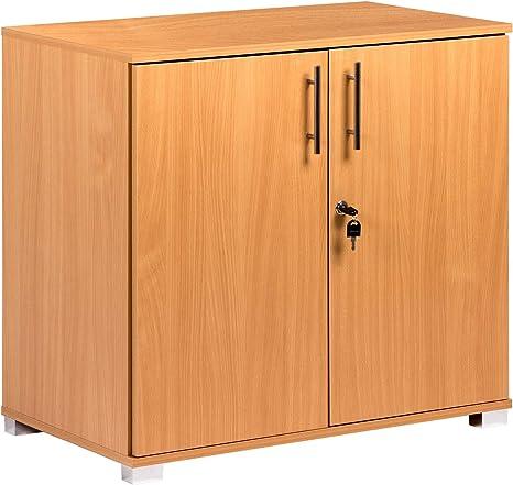 Armadietto da ufficio in legno di faggio, con 2 ante e serratura, altezza 73 cm