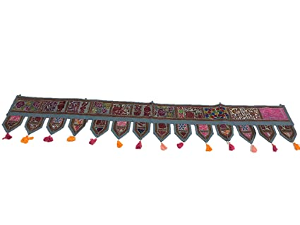 Ganesham- ''80'' Cotton Ethnic Wall Hanging Wall Art Vintage Patchwork Door Hanging Valances Window Valances Hand Embroidered Patchwork Toran Boho Bohemian Decor Living Room Decor Wall Decor
