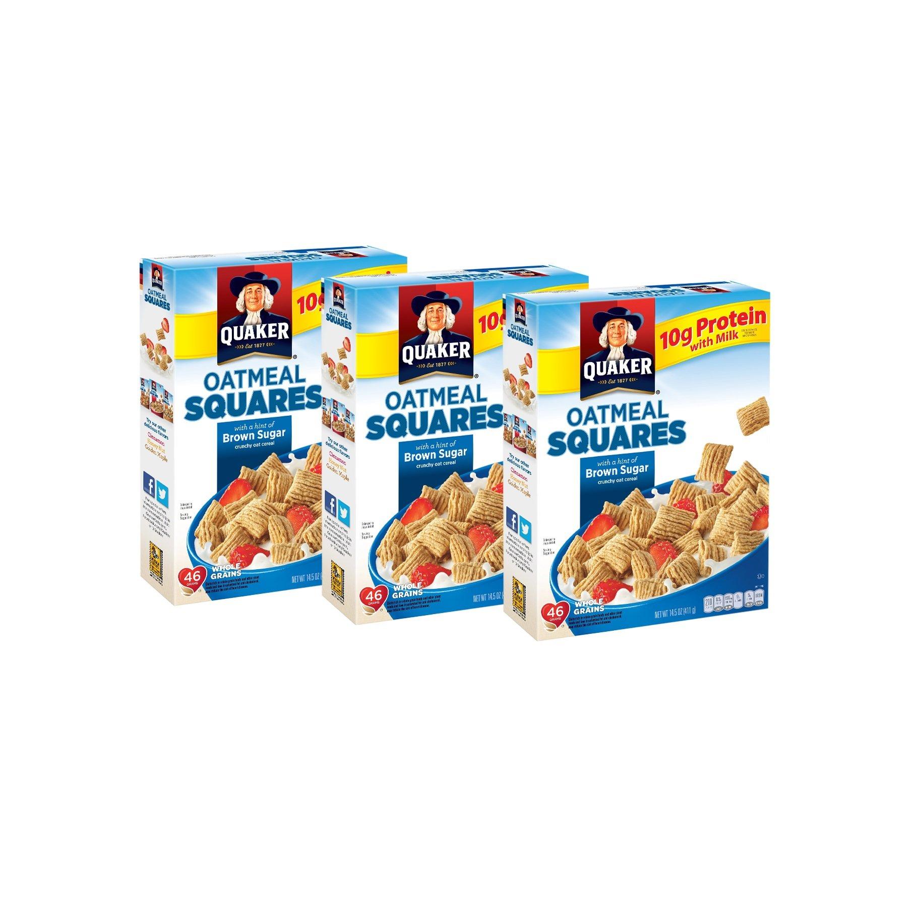 Quaker Oatmeal Squares, Brown Sugar, 14.5 Oz (Pack of 3)