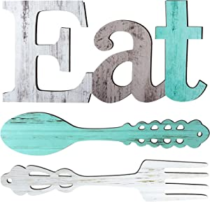 Set of EAT Sign, Fork and Spoon Wall Decor, Rustic Wood Eat Decoration, Cute Eat Letters for Kitchen and Home, Decorative Hanging Wooden Letters, Country Wall Art for Dining Room (Delicate Colors)
