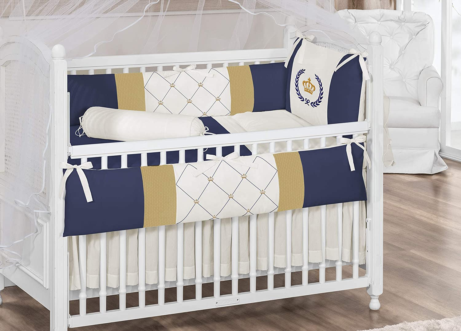 Royal Crown Theme Navy Blue Ivory Baby Boy 7 Pcs Embroidered Nursery Crib Bedding Set Bumpers + Sheet Set + Changing Pad