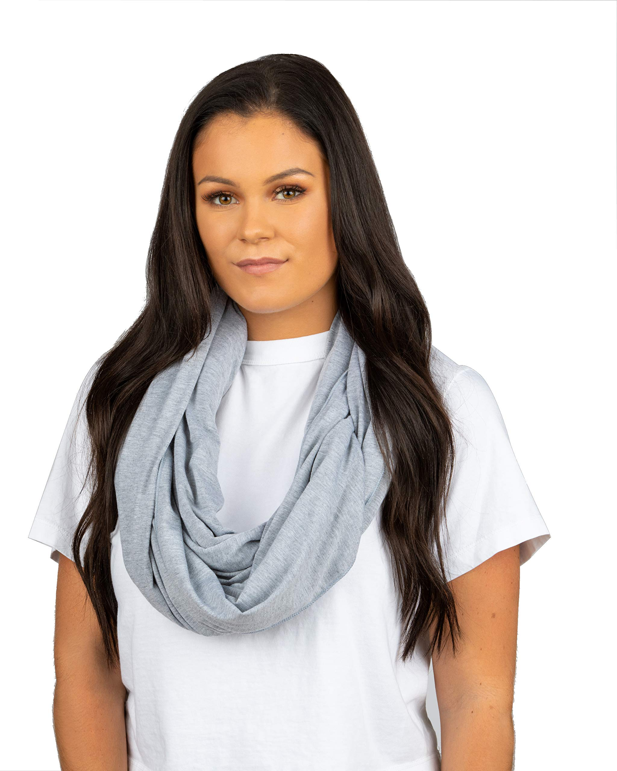 Sleeper Scarf 2-in-1 Travel Scarf and Inflatable Neck Pillow (Heather Grey, Traditional Inflate)