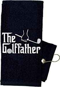 Golf Towel Store - Funny Golf Towels for Men, 100% Cotton 16 x 24 Tri-fold Black Golf Towel with Clip, Embroidered Golf Towels for Golf Bags with Clip