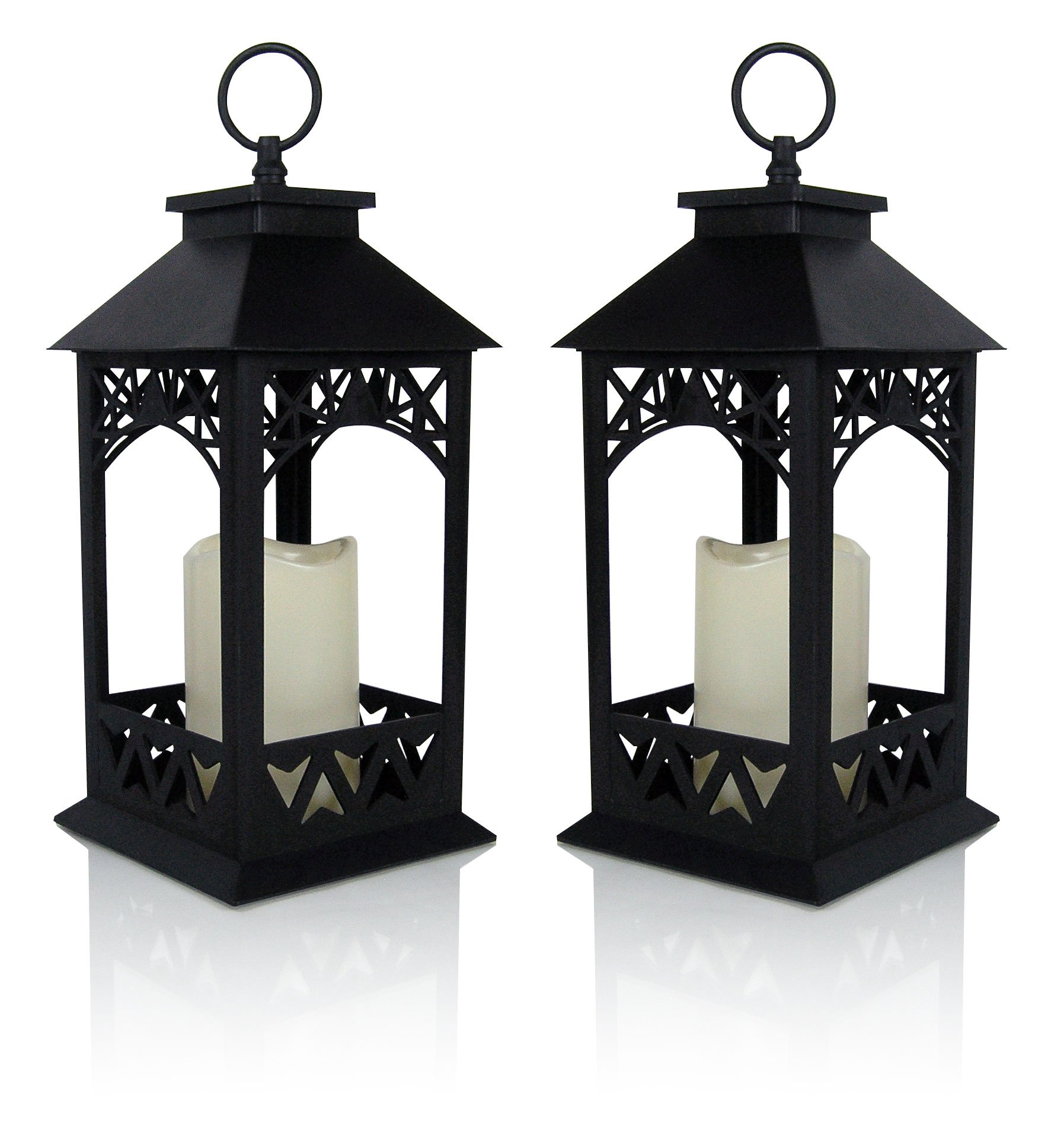 BANBERRY DESIGNS Decorative Lanterns - Set of 2 Black Lantern with LED Pillar Candle and a 5 Hour Timer - Candle Lanterns Outdoor - 13'' H