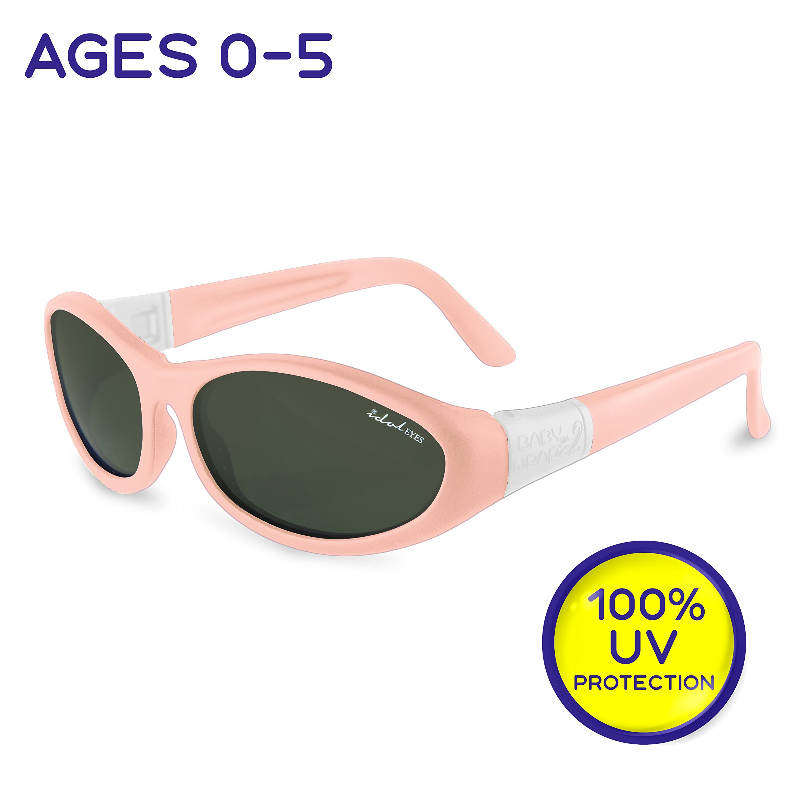 "Idol Eyes Kids Sunglasses for Kids - ""Baby Wrapz 2"" 100% UV Protection Baby Sunglasses with Strap and Temples + Extra Baby Sunglasses Strap for Ages 0-5 (Baby Pink)"