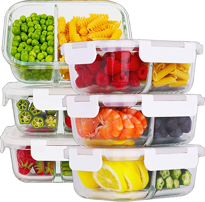 Bayco 6 Pack Glass Meal Prep Containers 2 Compartment, Glass Food Storage Containers with Lids, Airtight Glass Lunch Bento Boxes, BPA-Free & Leak Proof (6 lids & 6 Containers)