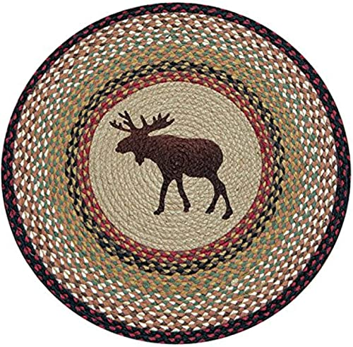 Earth Rugs Round Rug, 27 , Burgundy Mustard