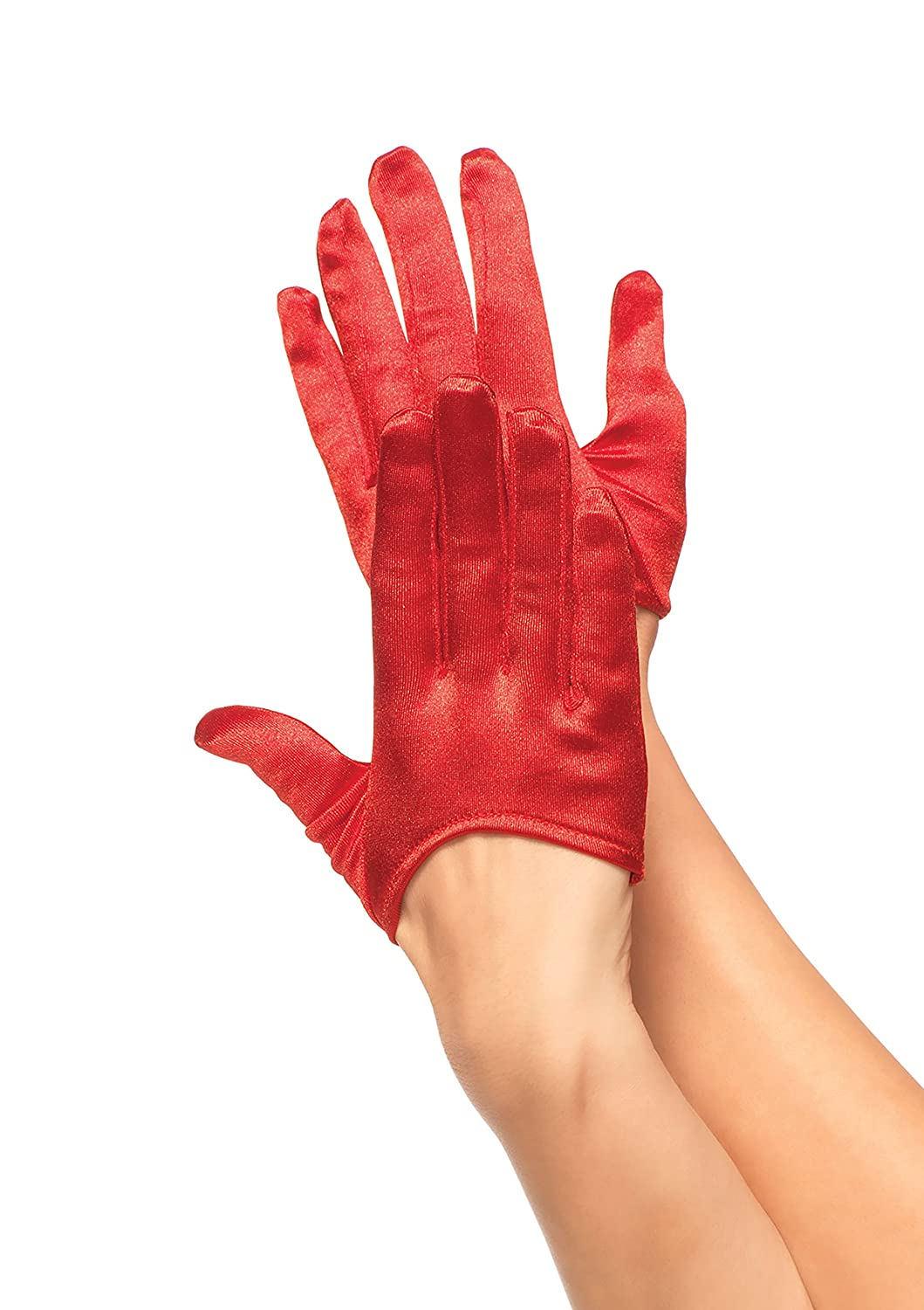 Women's Mini Cropped Red Satin Gloves