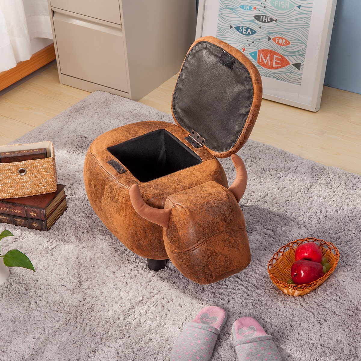 Merax Have-Fun Series Upholstered Ride-on Storage Ottoman Footrest Stool with Vivid Adorable Animal Shap Brown, Buffalo