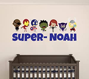 """Custom Name Baby Avengers - Personalized Name Famous Superheros - Wall Decal for Nursery and Kids Decoration (Wide 15"""" x6 Height)"""